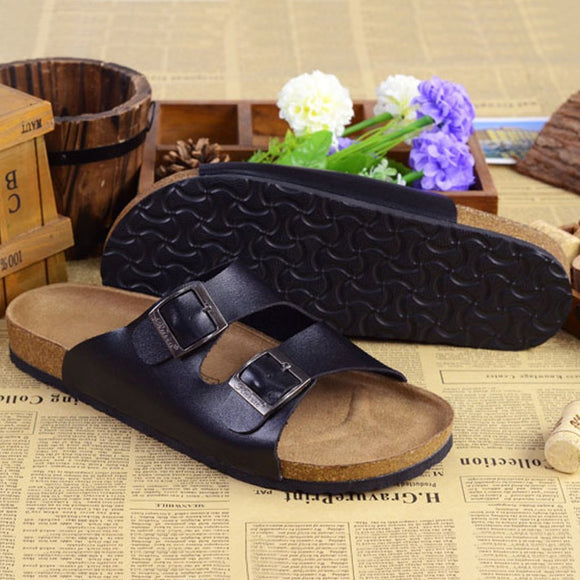 Leather soft bottom slippers
