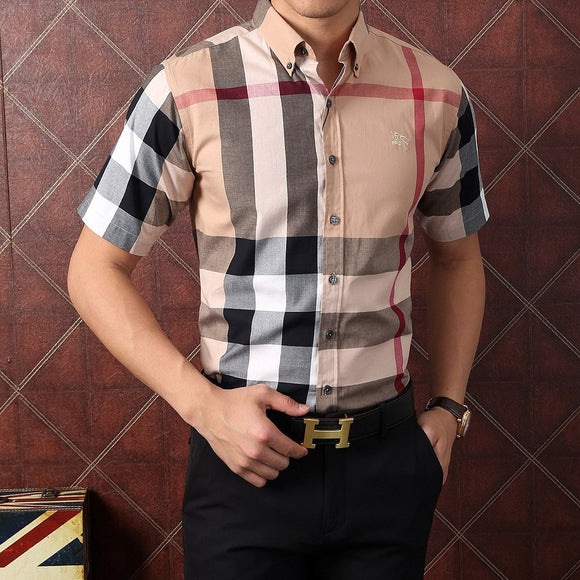 Men's Chequered Short-sleeved Shirt