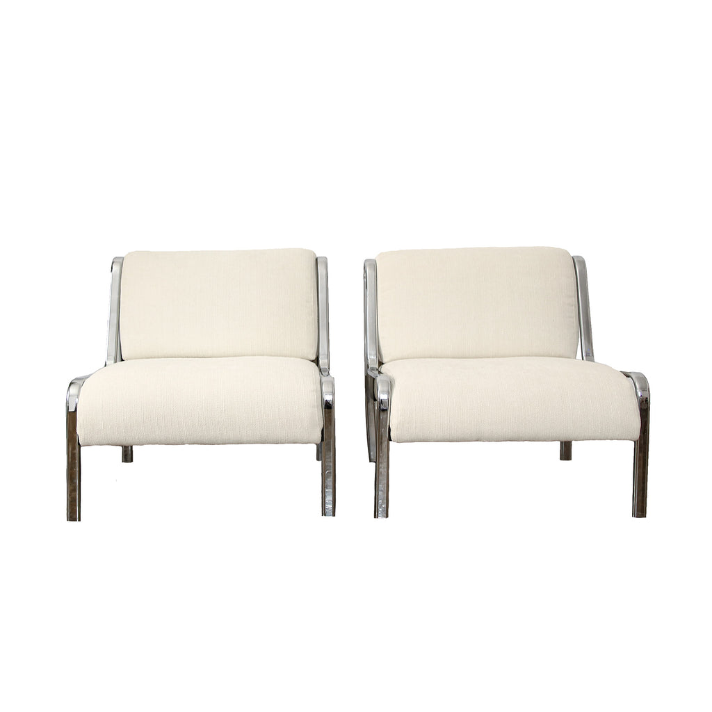 Chrome Case Armchairs in White