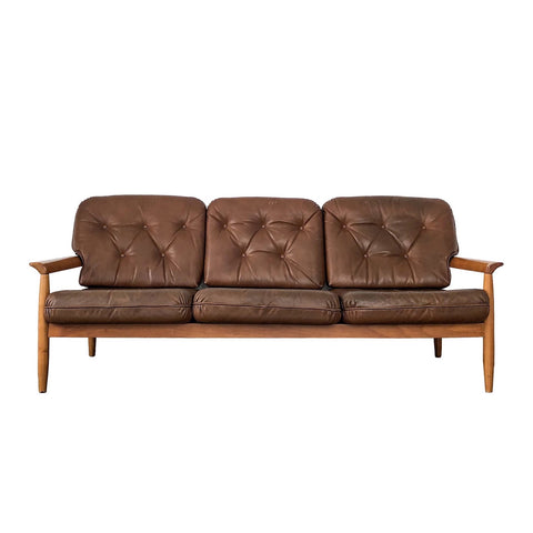Mid-Century Danish Leather 3 Seater Sofa