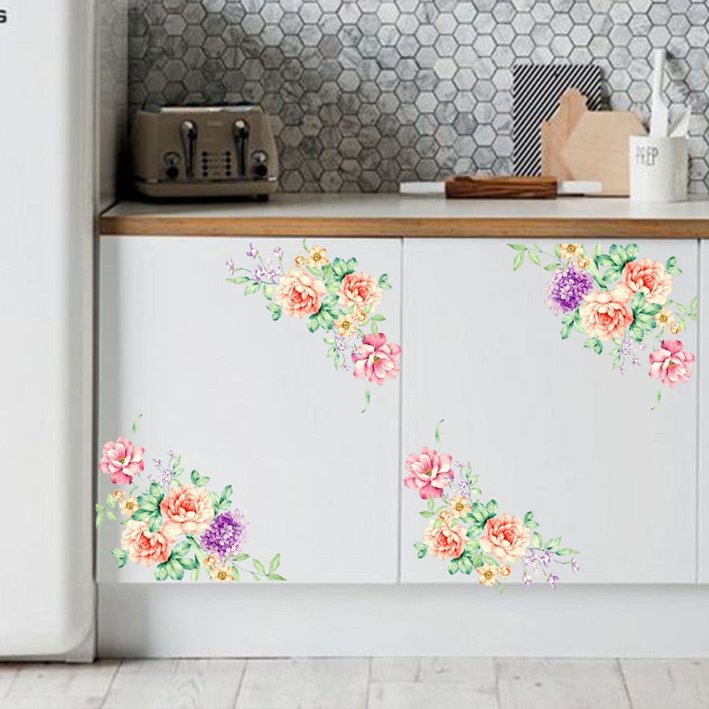 Colorful Flowers 3D Wall Stickers Beautiful Peony Fridge Stickers Toilet Decorat