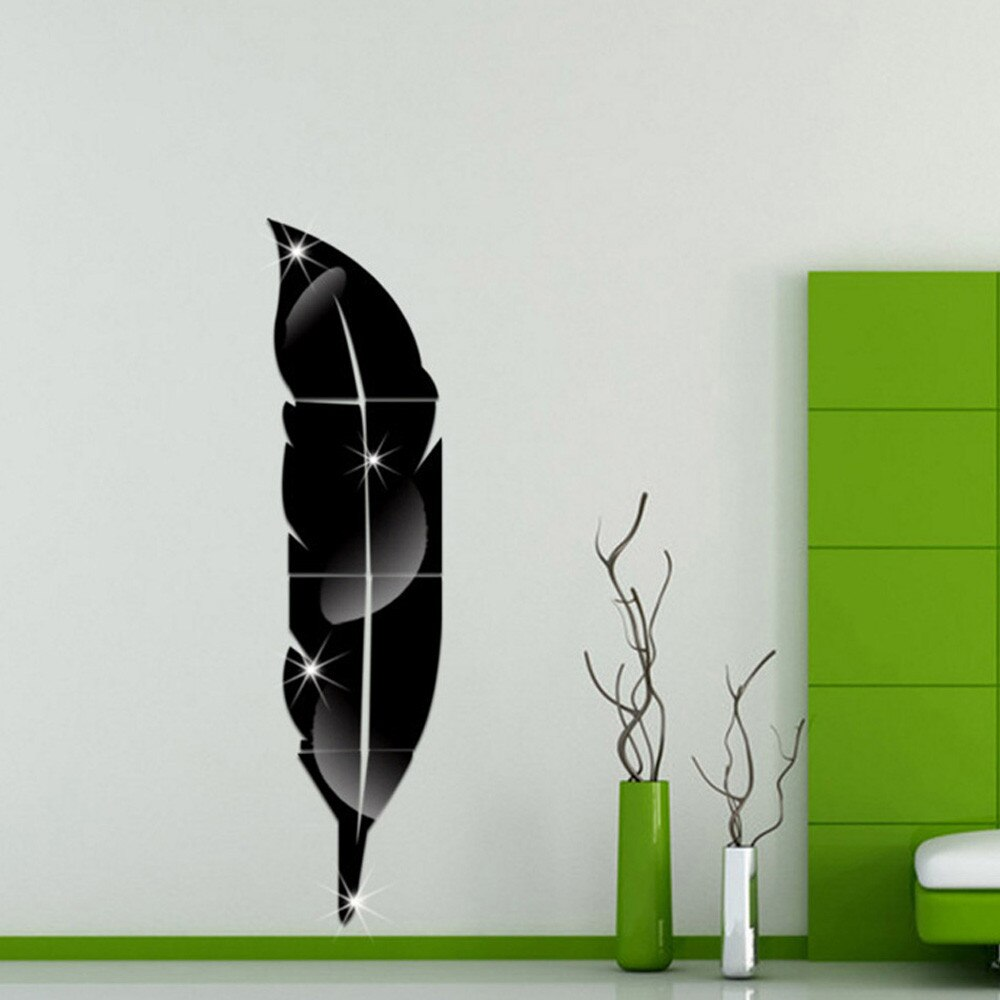 3D DIY Wall Stickers Feather Mirror Removable Wall