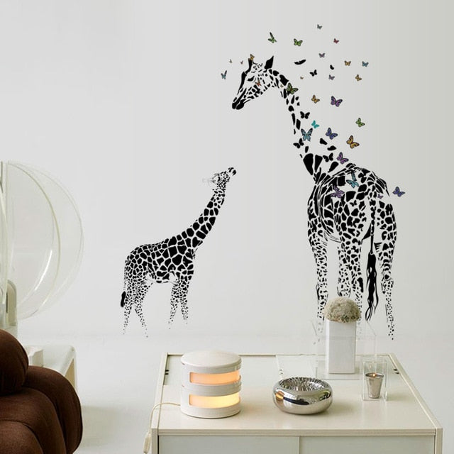3D two Giraffe Butterfly DIY Vinyl Wall Stickers