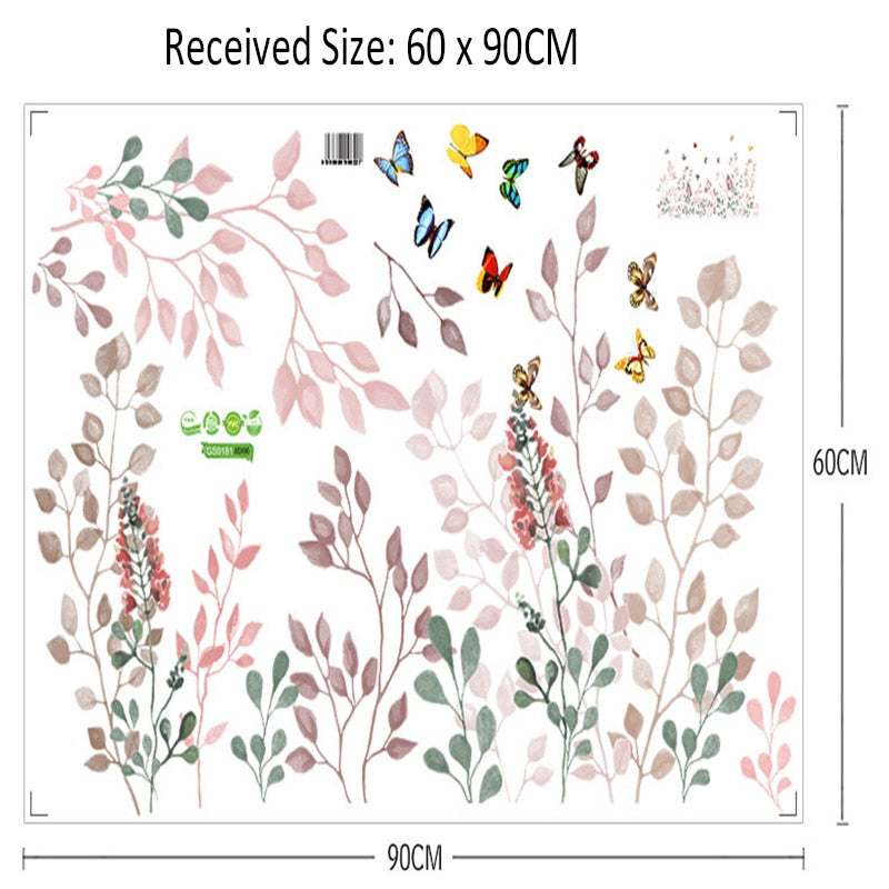 Graphic Poster Plant Leaves Flowers Butterfly