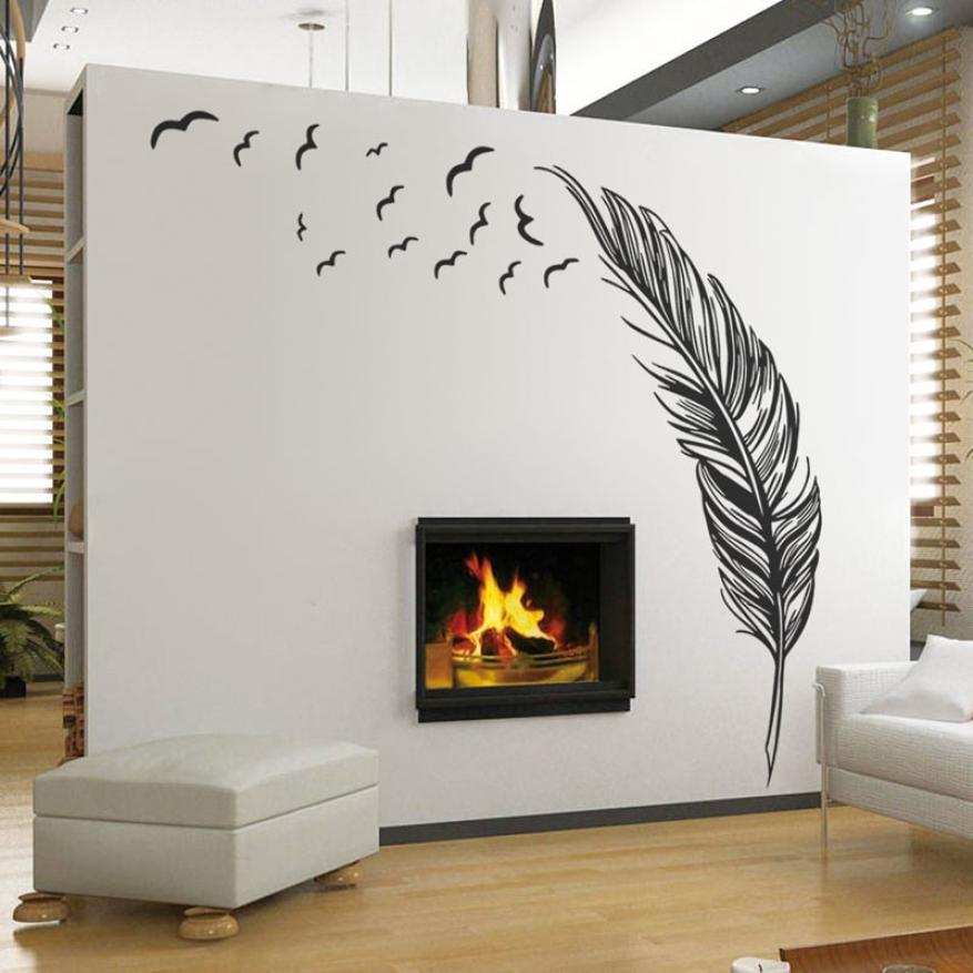 Creative  White Black Blown Wall Sticker Birds Feather Bedroom Home Art Decor