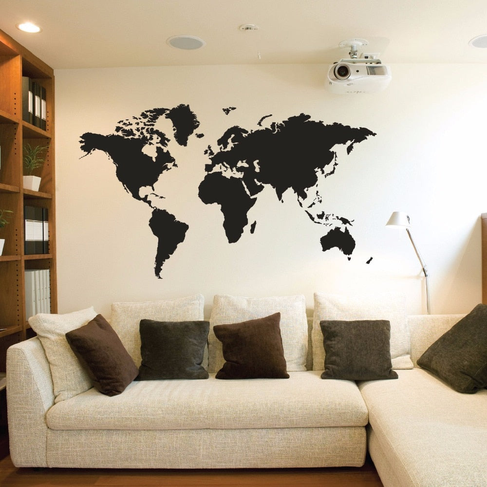 World map vinyl wall stickers for living room bedroom decoration