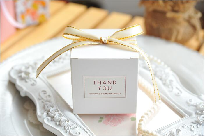 European Simple Atmosphere White Cube Candy Packing Boxes Wedding Party