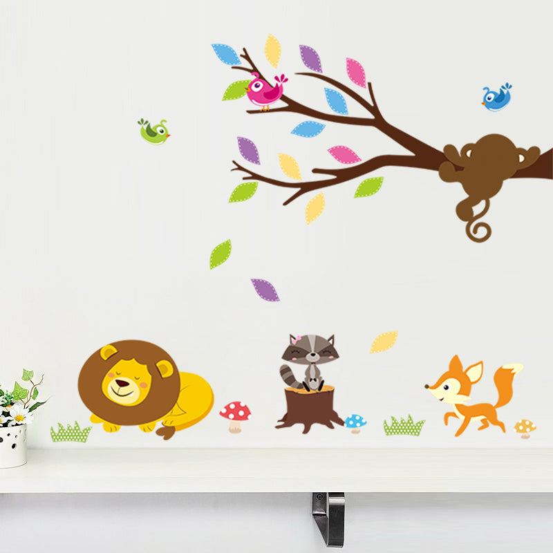 Forest Giraffe Lion Monkey Tree birds Butterfly