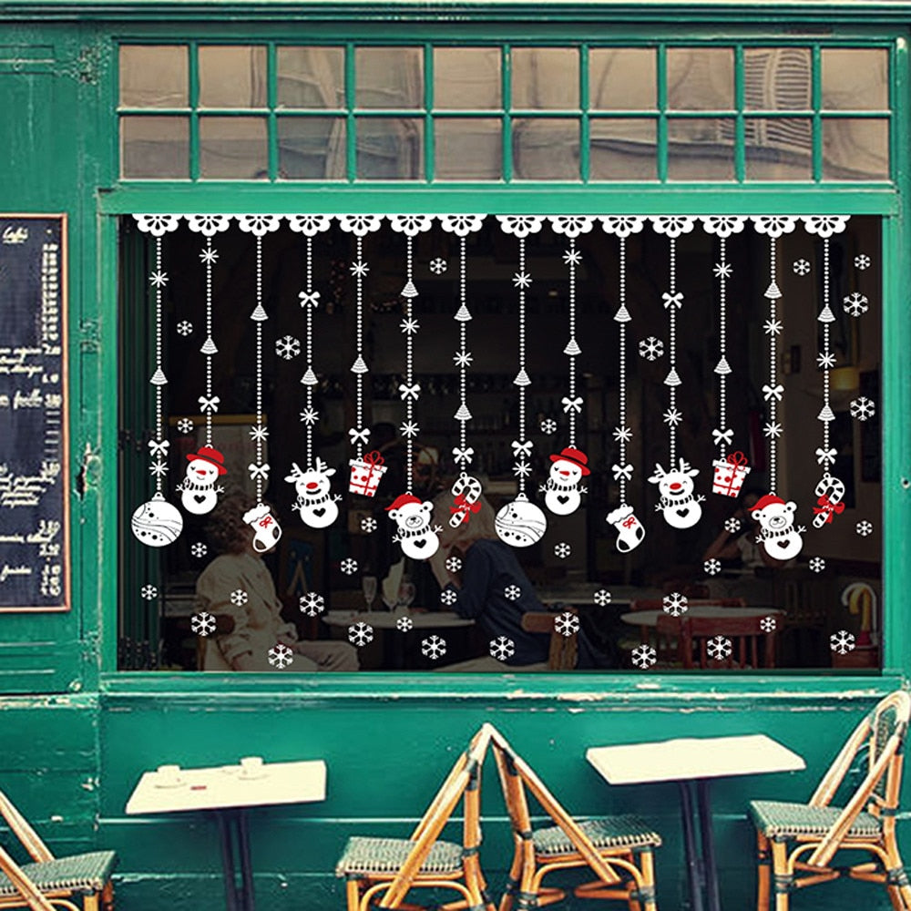 Snow Ball Vinyl Window Wall Sticker Natale Decorazioni
