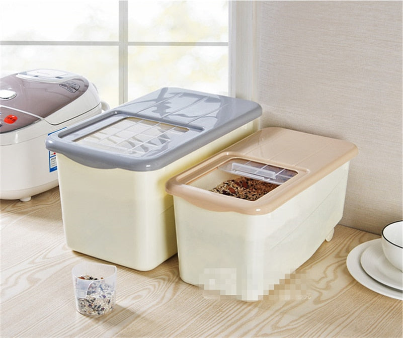 Kitchen Plastic Rice Box 10kg Moisture Food Vegetables Stockholders Boxed Rice Storage Box
