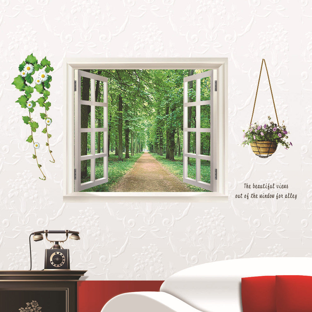 Lovely Pets 3D Landscape Wall Stickers