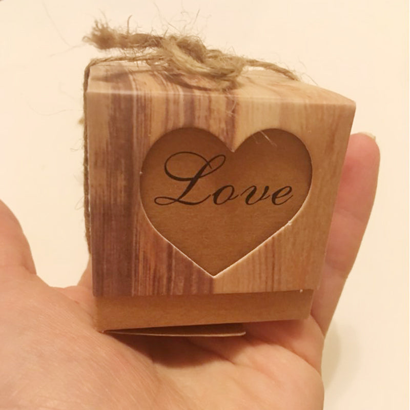 Romantic Vintage Heart Kraft paper Candy Box With Burlap Twine Wedding Favors