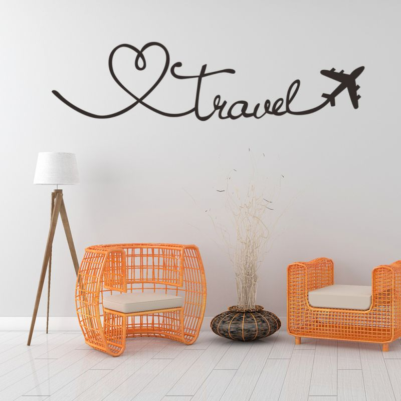 Travel Themed Quote Words Wall Stickers Decal DIY