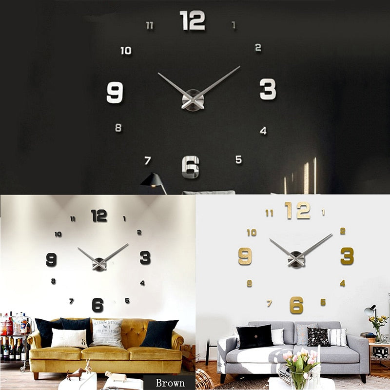 Watch Wall Sticker 3d Diy Acrylic Mirror Stickers Decoration Living Room