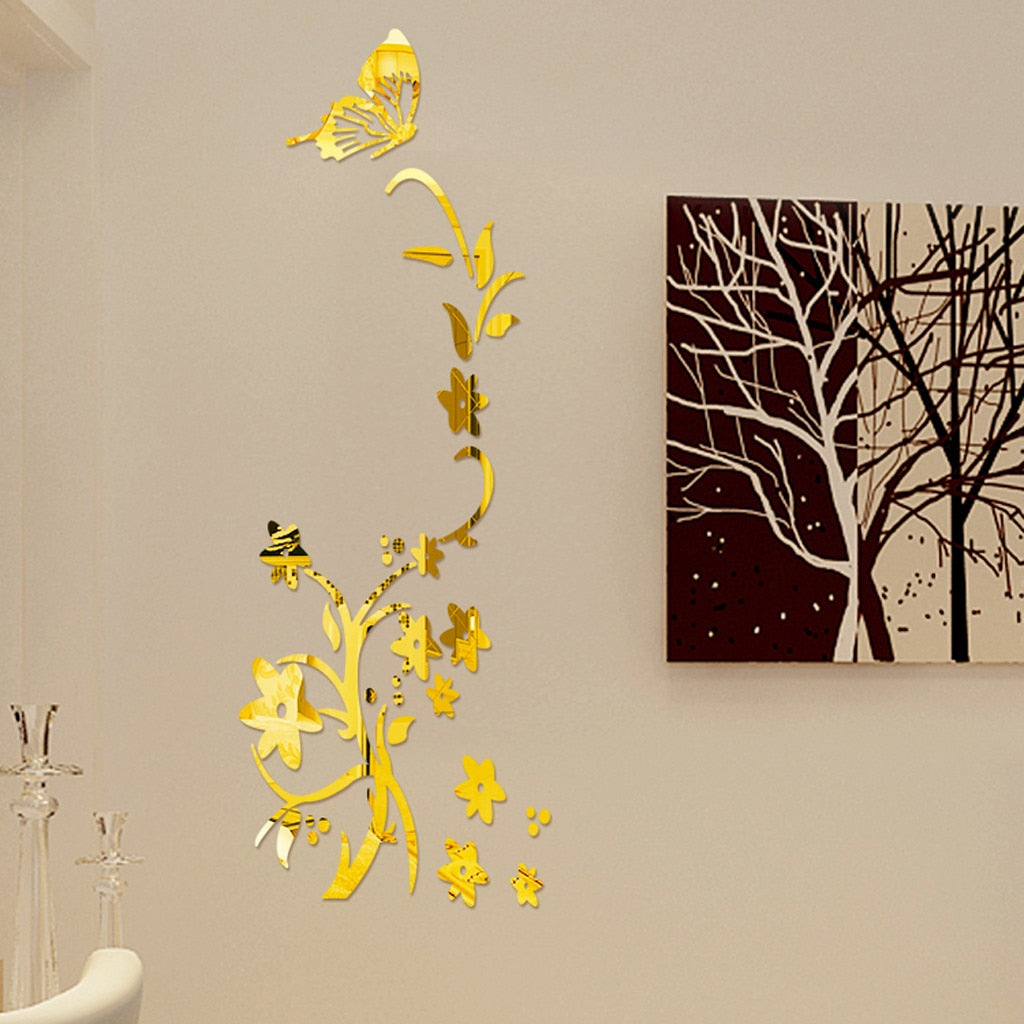 3D Diy Acrylic Modern Flower Butterfly wall Stickers