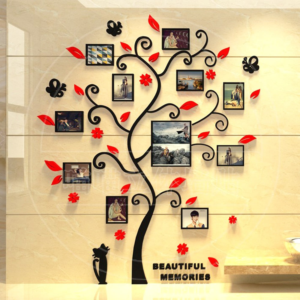 Acrylic 3D Family Photo Frame Tree Wall Stickers Poster
