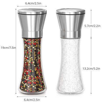Stainless Steel KONCO 2PCS Salt Sea Salt Peppercorn Mill with Adjustable Ceramic