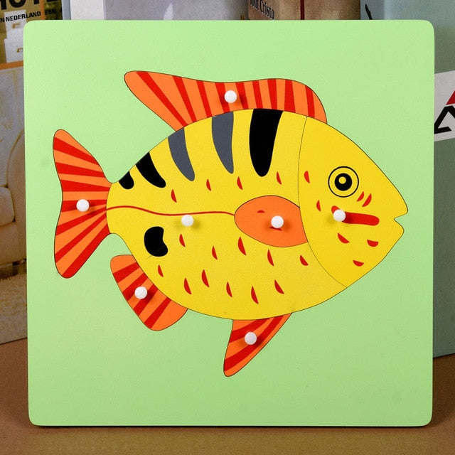 Bird Fish Turtle Sensorial Board Preschool Learning Toys