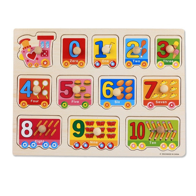 Toys For Toddler Geometric Shape Puzzle Board with Knobs Wooden