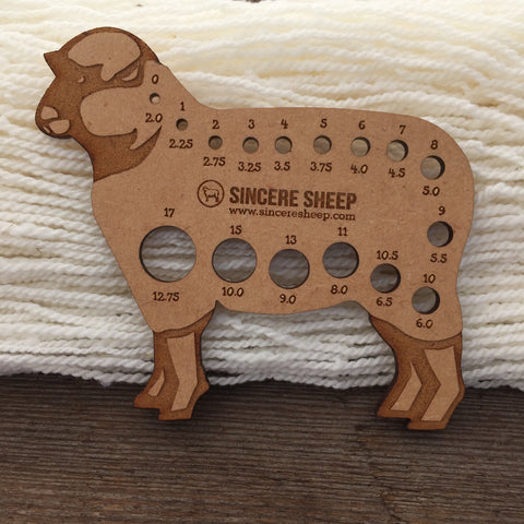 Sincere Sheep Wooden Needle Gauge