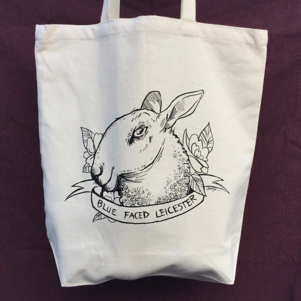 Blue Faced Leicester Organic Cotton Tote Bag