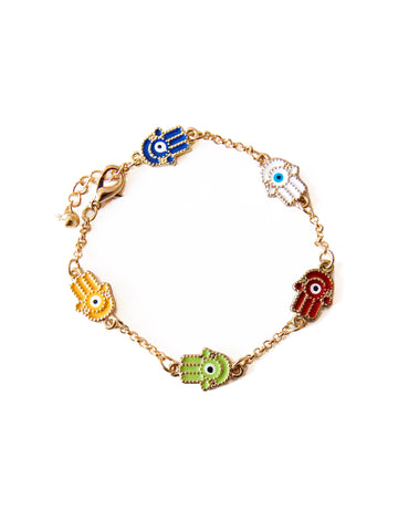 Gold Hamsa Evil Eye Multicoloured Link Charm Bracelet
