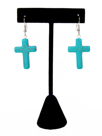 Turquoise Gemstone Cross Drop Earrings