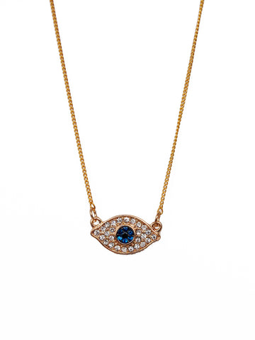 Gold Evil Eye Crystal on Gold Chain Necklace
