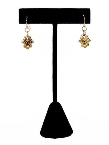 Gold Evil Eye Hamsa Hand Drop Earrings