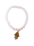 Rose Quartz Bead Bracelet with Hamsa Hand Charm (Gold / Silver Charm)