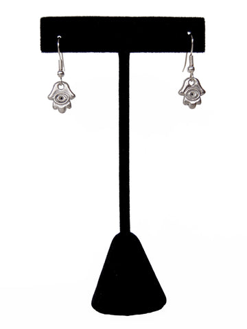 Silver Evil Eye Hamsa Hand Drop Earrings