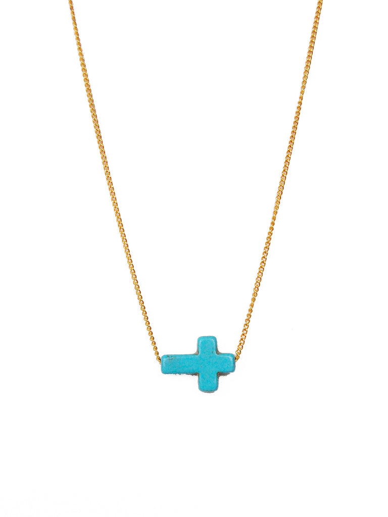 Turquoise Sideways Cross Necklace (Gold/Silver Chain)