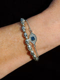 Silver Evil Eye Crystal Chain Bracelet