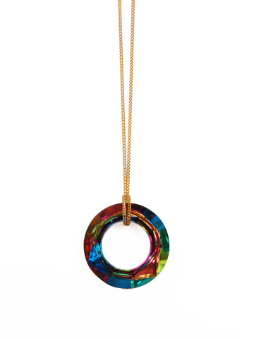 Crystal Circle Donut Necklace (Gold / Silver Chain)