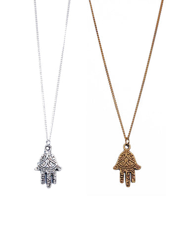 Fatima Hamsa Hand Necklace (Gold / Silver)