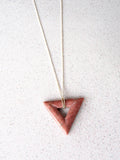 Pink Rhodonite Gemstone Triangle Necklace (Silver / Gold Chain)