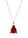 Red Thunder Bird Gemstone Pendant on Silver Chain Necklace