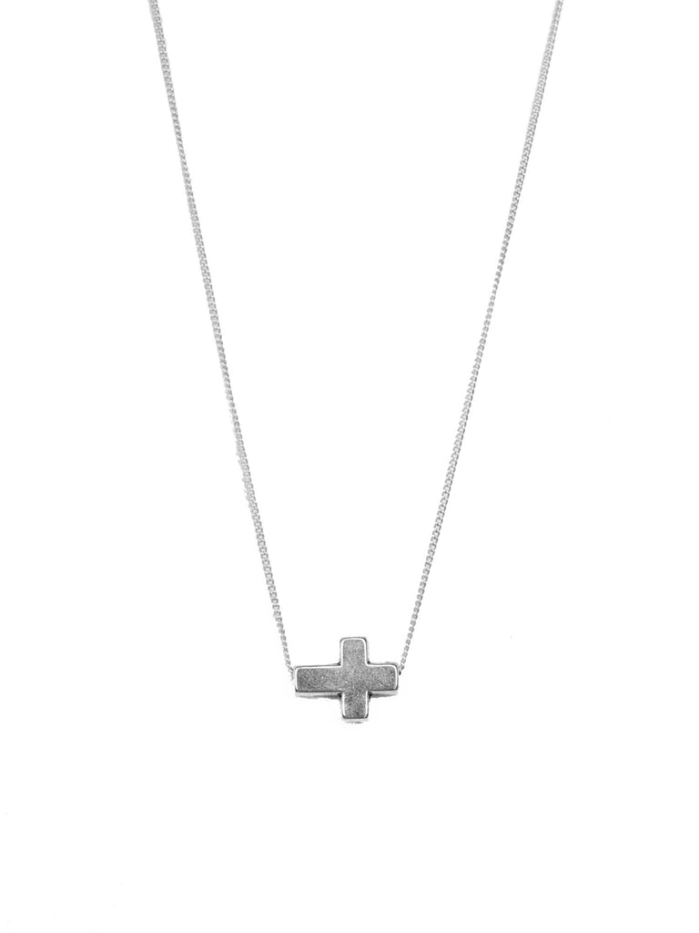 Silver Sideways Cross Bead Necklace