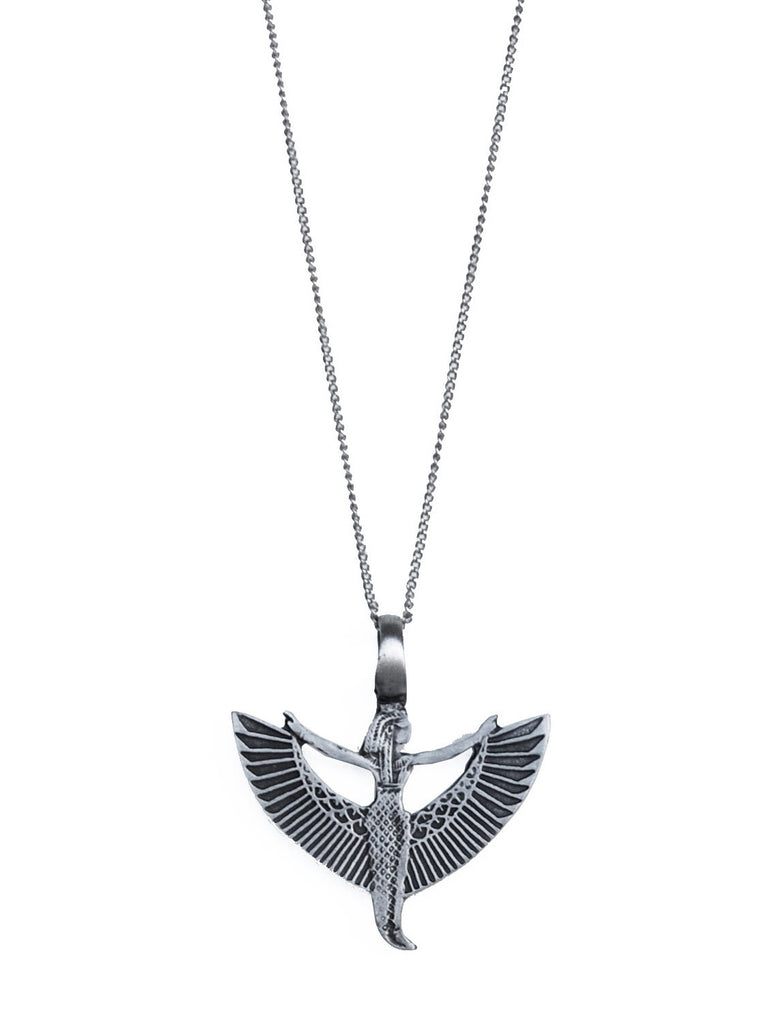 Silver Winged Ma'at Pendant Necklace