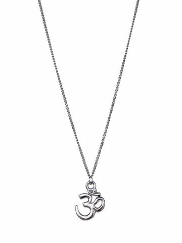 Silver Ohm Pendant on Silver Chain Necklace
