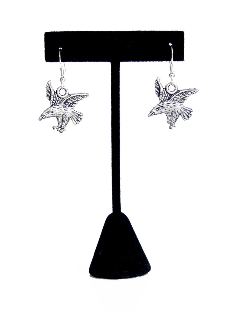 Silver Eagle Drop Earrings