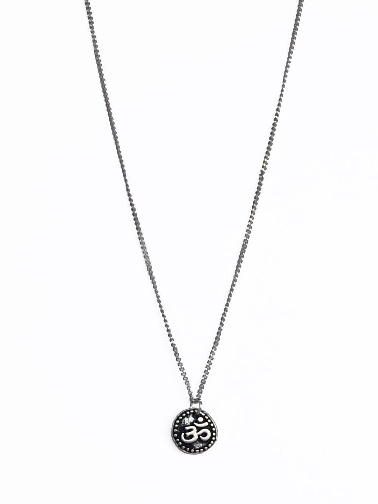 Silver Ohm Disc Pendant on Silver Chain Necklace