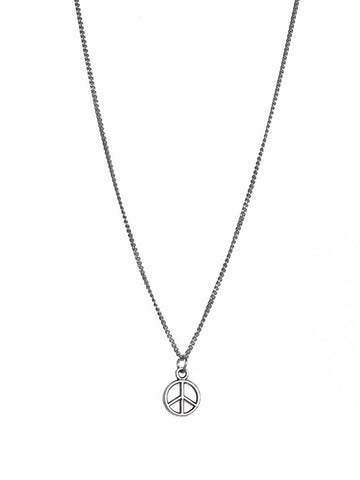 Silver Peace Sign Pendant on Silver Chain Necklace