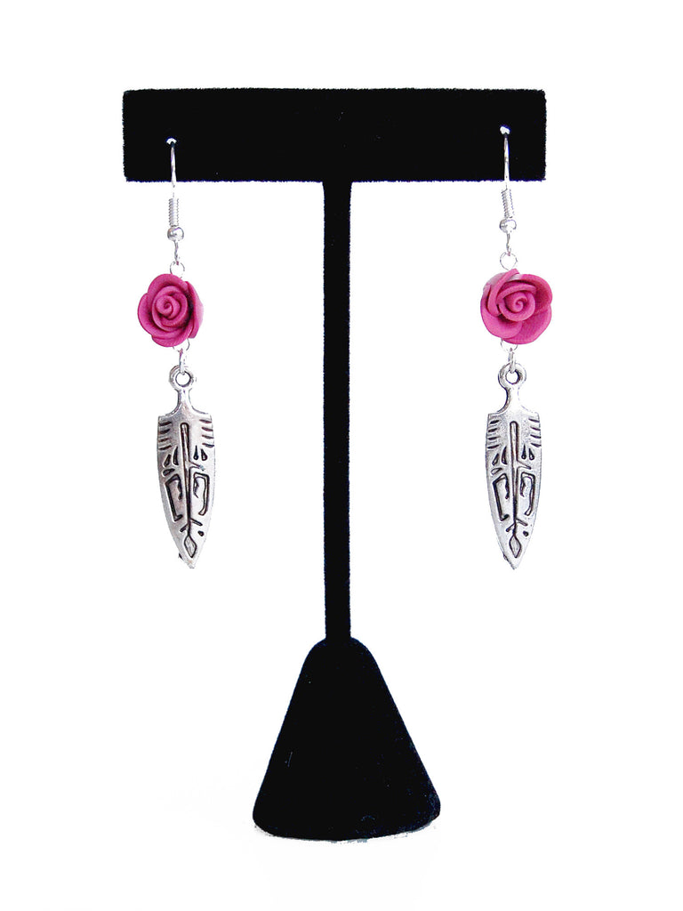 Pink Flower and Silver Aztec Arrowhead Drop Earrings