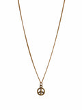 Gold Peace Sign Pendant on Gold Chain Necklace