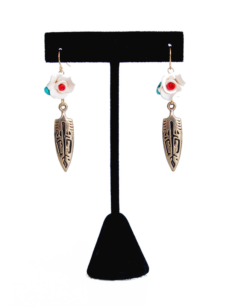 White Flower and Gold Aztec Arrowhead Drop Earrings