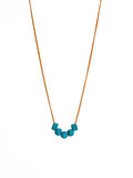 Turquoise Square Beads on Gold Chain Necklace