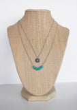 Turquoise Square Beads on Silver Chain Necklace