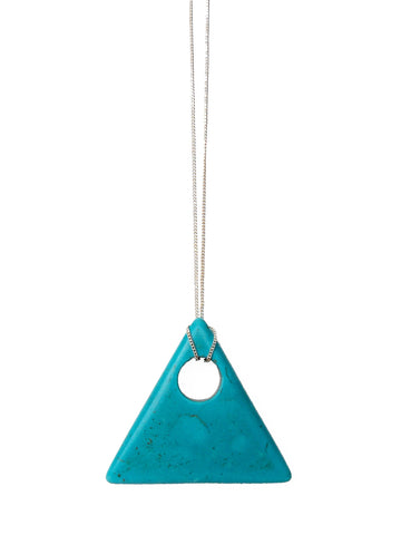 Turquoise Gemstone Triangle Necklace (Gold / Silver Chain)