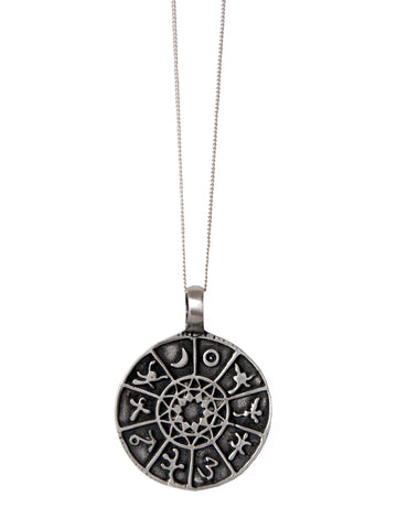 Silver Symbol Disc Pendant Necklace